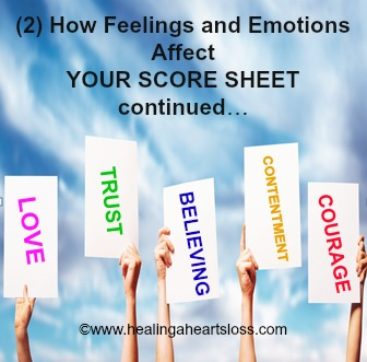 How Feelings and Emotions Affect YOUR SCORE SHEET! continued…