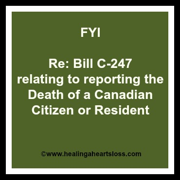 Reporting the Death of a Canadian Citizen or Resident (Bill C-247)
